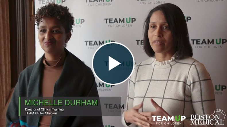 Still frame from a TEAM UP for Children video featuring Michelle Durham, Director of Clinical Training and other partners.